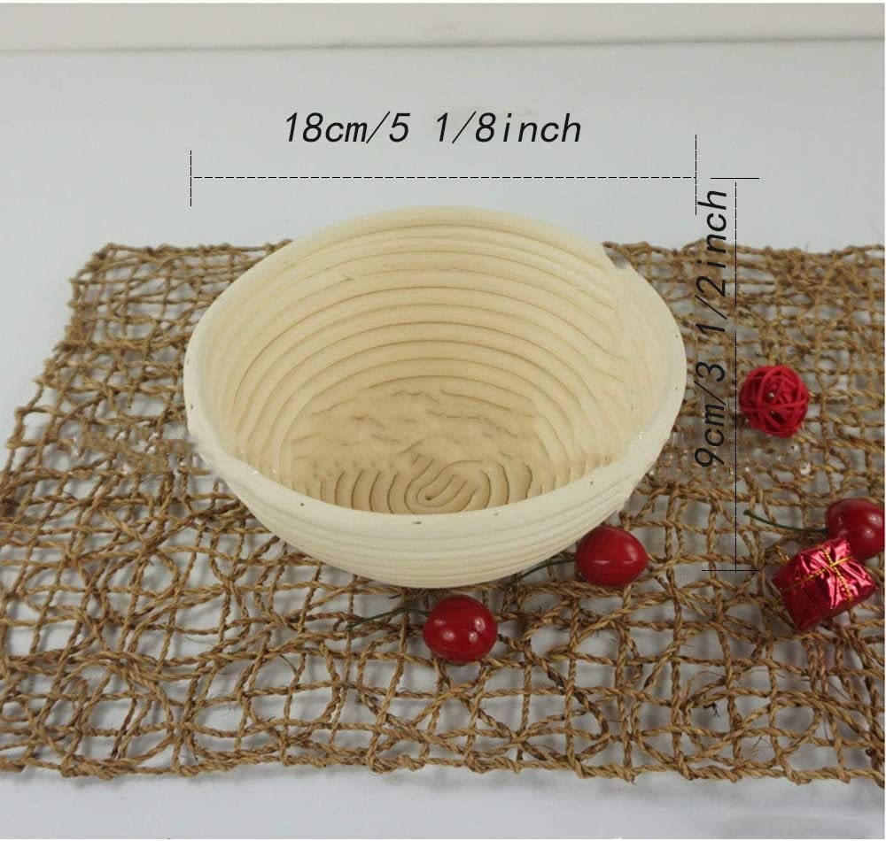 2, 22cmx8cm//8 3//4inchx3 1//8inch Baking Bowl Dough Gift Baker Proof Basket Proofing Box. 2 Pcs Round Bread Proofing Basket Natural Rattan Sourdough Proving Basket Professional Bread Proving Bowl
