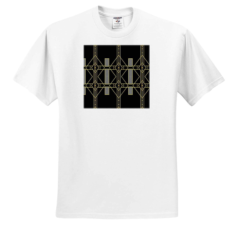 ts/_313430 3dRose Lens Art by Florene Image of Black Gold and Silver Art Deco Design Art Deco Adult T-Shirt XL