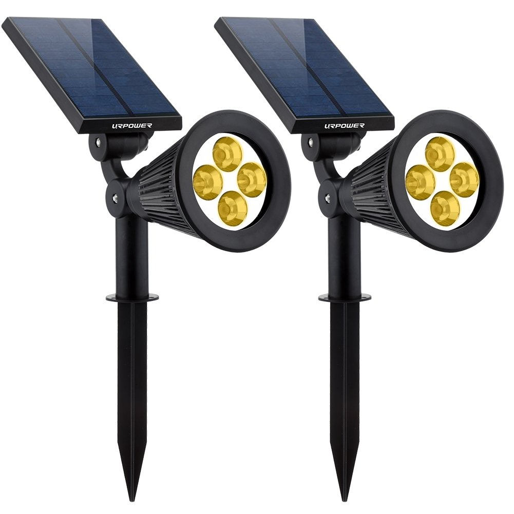 URPOWER Solar Lights 2-in-1 Solar Powered 4 LED Adjustable Spotlight Wall Light Landscape Light Bright and Dark Sensing Auto On/Off Security Night Lights for Patio Yard Driveway Pool (Warm White)