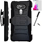 For LG V20 Case Armor Hybrid Silicone Phone Cover Kick Stand LuxGuard Holster+Screen Protector+Stylus (Mesh Metal)