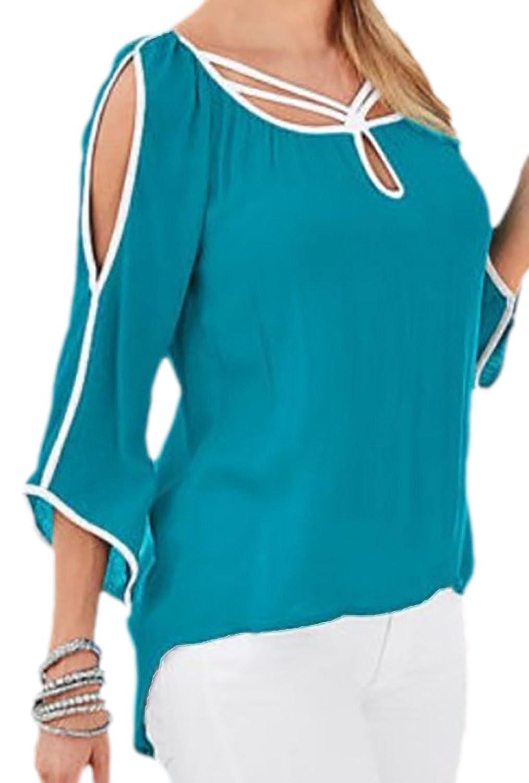 erdbeerloft - Damen Casual Shirt mit Cut Outs, asymmetrisch, 34-40, Viele  Farben: Amazon.de: Bekleidung
