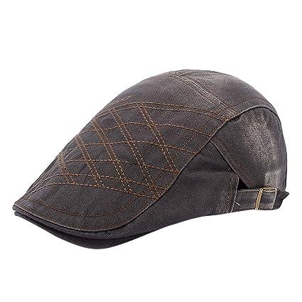839580734b2607 Amazon.com : Egmy Hat🍀Mens Women Solid Color Adjustable Beret Cap Casual  Style Golf Cap Peaked Cap Vintage Hat Sunscreen Vintage Cap (Army Green) :  Garden ...