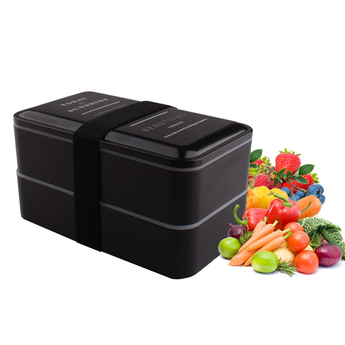 LAWOHO Bento Lunch Box Insulated 2-Tier Movable Divider Compartments Box with Fork & Spoon for Kids & Adults Black