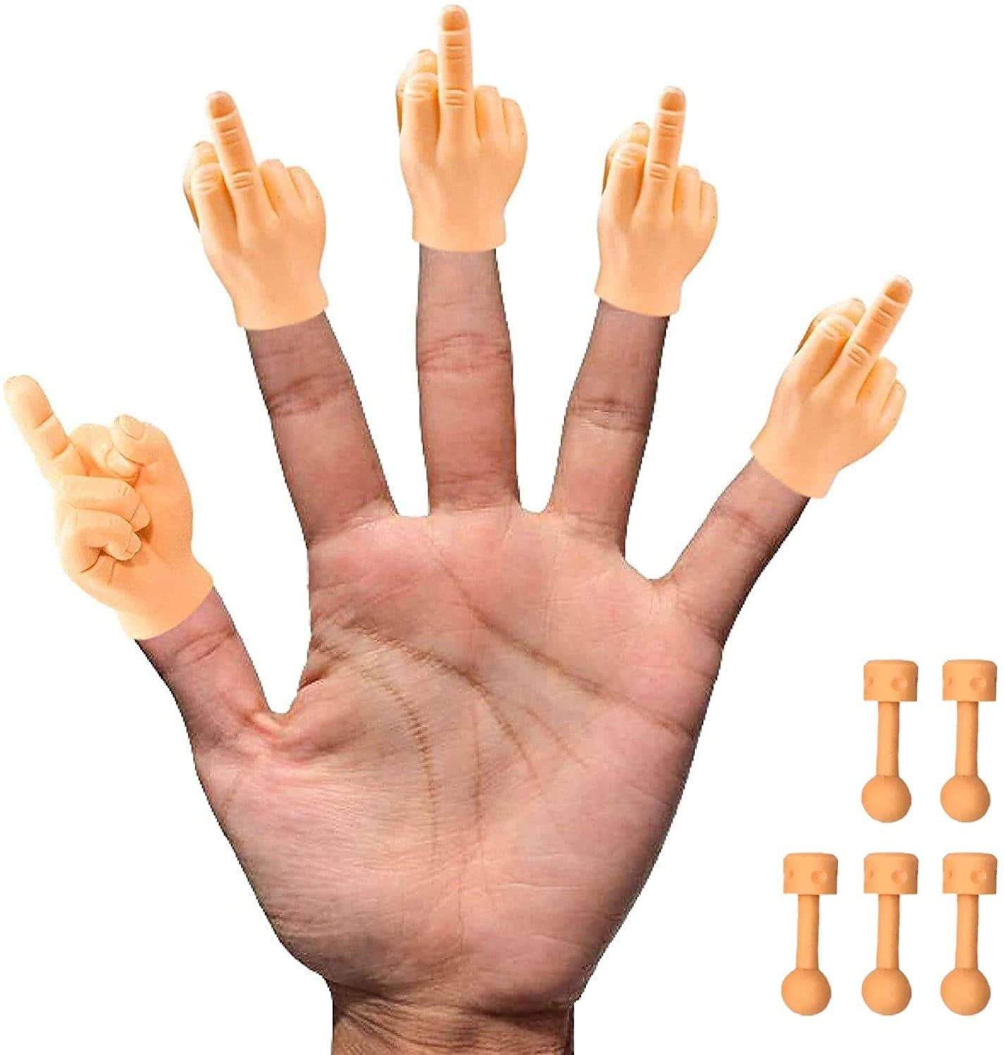 Daily Portable Tiny Hands (Middle Finger Sign) - 5 Pack - MFU Style Mini Hand Puppet + 5X Bonus Holding Sticks