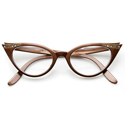 64f573364a3a Amazon.com  Vintage Cateyes 80s Inspired Fashion Clear Lens Cat Eye Glasses  with Rhinestones (Brown)  Clothing