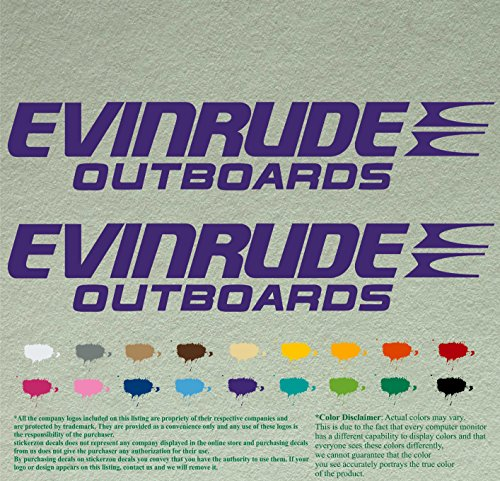 Pair of Evinrude Outboards Decals Vinyl Stickers Boat Outboard Motor Lot of 2 (12 inch, Purple 404)