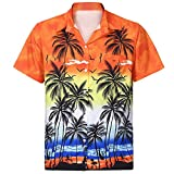 Men's Casual Fit Camp Palm Tree T Shirt Short