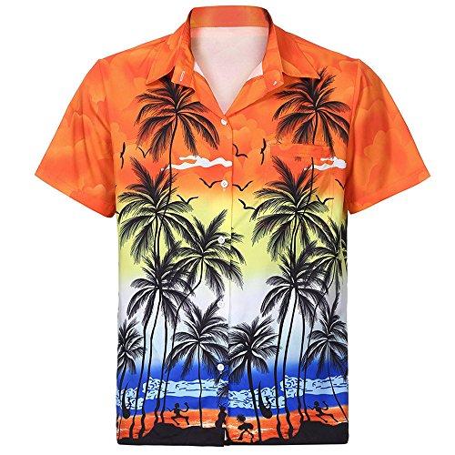 FEDULK Men Hawaiian Shirt Short Sleeve Lapel Collar Summer Beach Floral Printed Blouse Top Tees(Orange, X-Large)