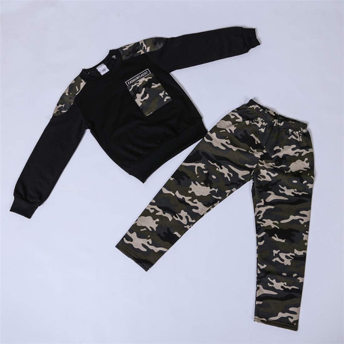 Koupa Kids Unisex Toddler Boys Long Sleeve Camo Pant Set 2 Piece T-Shirt /& Pant Clothes