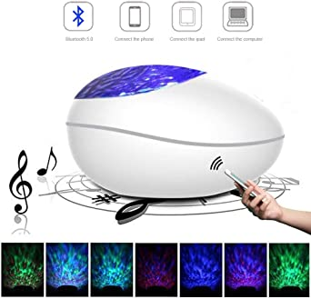 Bluetooth Music Mode,3 Adjustable Brightness,8 Colorful Light Modes Remote Control+Timer Light Projector for Kids Adults Bedroom Living Room Umiwe 2019 Upgraded Ocean Wave Projector Night Light,