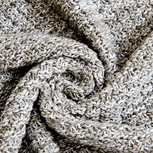 Longhui Bedding Knitted Throw Blanket for Couch – Soft, Cozy Machine Washable 100% Cotton Sofa Blanket, Heavy 3.8lb Weight, Laundry Bag Included, Grey and White