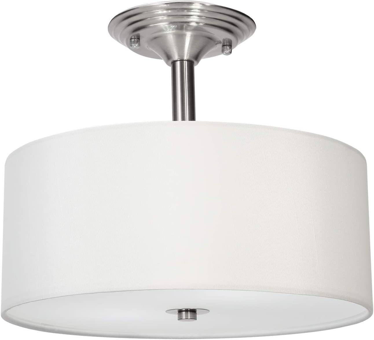 CO-Z Brushed Nickel Finish Semi Flush Mount Ceiling Light, Two Bulb White Hardback Fabric Drum Shade Chandelier Light Fixture with Acrylic Diffuser, UL-Certified 120W LED Dimmable Lighting