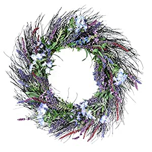 Ten Waterloo 24 Inch Lavender and Lilac Spring Mixed Flower Wreath on Natural Twig Base - Artificial Spring Wreath 59