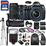Canon EOS 5D Mark IV DSLR Camera with Canon EF 24-105mm f/4L IS II USM Lens & Canon EF 75-300mm f/4-5.6 III Lens, TTL Flash, Tripod, Mono-Pod, Battery Grip + Professional Accessory Bundle