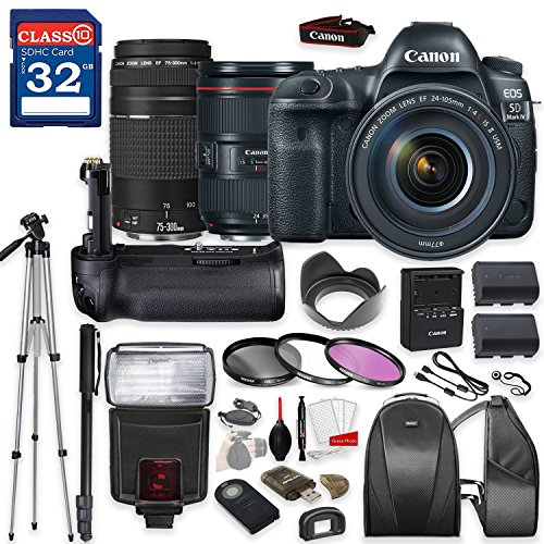Cheap Canon EOS 5D Mark IV DSLR Camera with Canon EF 24-105mm f/4L IS II USM Lens & Canon EF 75-300mm f/4-5.6 III Lens, TTL Flash, Tripod, Mono-Pod, Battery Grip + Professional Accessory Bundle