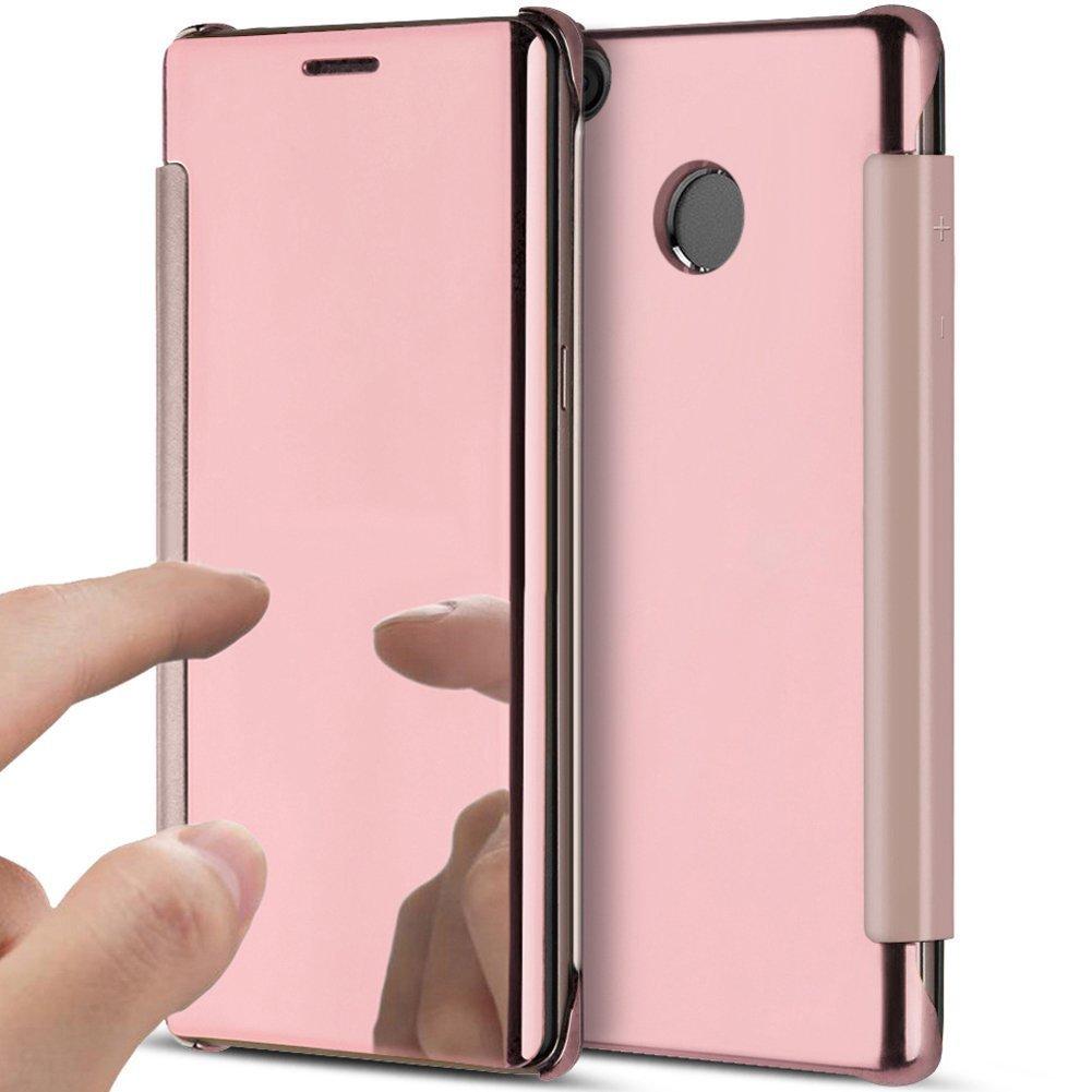 PHEZEN Xiaomi Redmi Note 4X Case, Luxury Mirror Makeup Case Plating PU Leather Flip Protective Cover [Kickstand] Magnetic Closure Full Cover Case for Xiaomi Redmi Note 4X (Rose Gold)