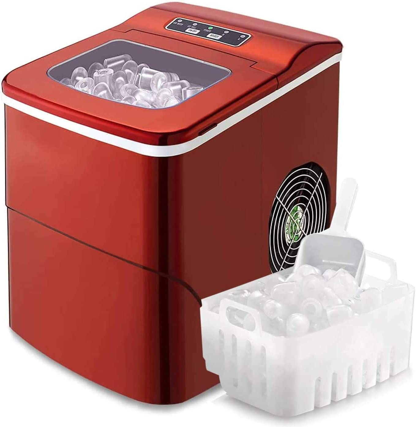 WUAZ Ice Maker,Portable Automatic 9 Ice Cubes Ready in 8 Minutes,Makes 15Kg of Ice Per 24 Hours,Self-Clean,See-Through Lid for Home/Bar/Party