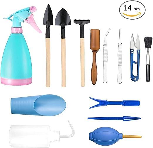 14 piezas Kit de herramientas de jardinería pequeña Pala rastrillo paleta Herramientas de planta de macetas
