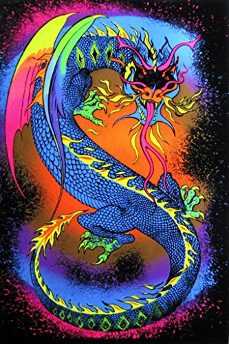 (Pyramid America Dragon Fire Breathing Fantasy Psychedelic Retro Blacklight Poster 23x35 inch)