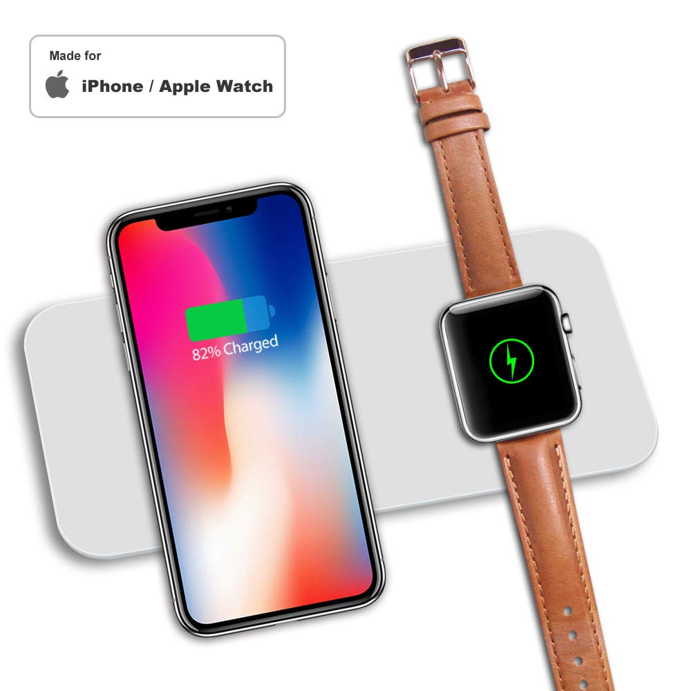 Racepro Wireless Charger for Apple Watch, 2-in-1 Pad Stand Cable Compatible with iWatch Series 1/2/3, for iPhone X/8/8 Plus, for Samsung S8/Note 8 (Silver)