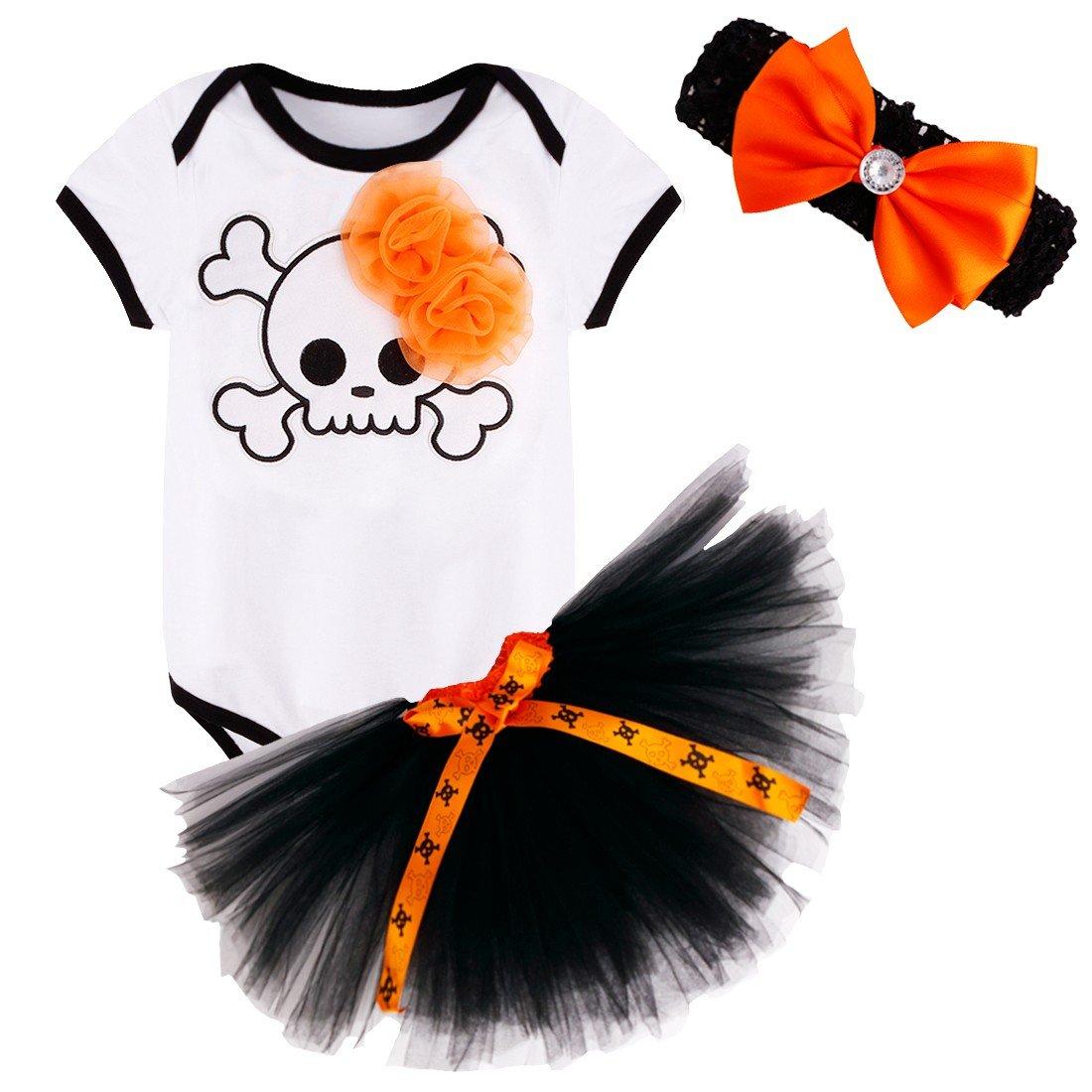 Freebily 3PCS Infant Baby Girls 1st Halloween Costumes Short Sleeves Romper + Tutu Skirt + Headband Outfits