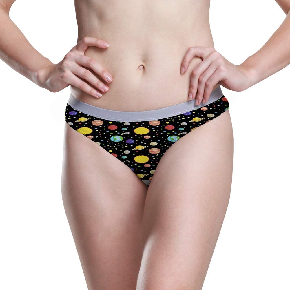 Womens Hipster Panties,Comets and Constellations Stars with Polka Dots Earth Sun Saturn Mars Solar System,5 Size