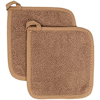 Ritz Royale Collection 100% Cotton Terry Cloth Pot Holder Set, Kitchen Hot Pad, 2-Pack, Mocha Brown