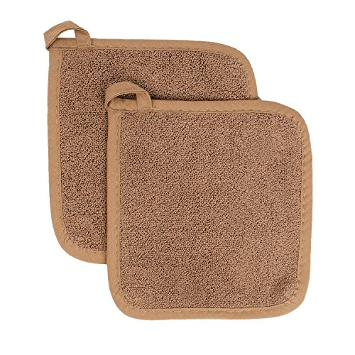 Ritz Royale Collection 100% Cotton Terry Cloth Pot Holder Set, Kitchen Hot Pad, 2-Pack, Mocha Brown ()