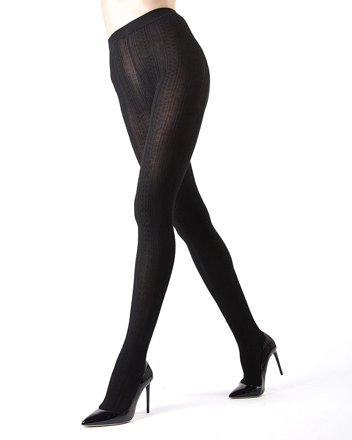 fd9522fa7 Memoi Toronto Cable Sweater Tights | Women's Hosiery - Pantyhose at Amazon  Women's Clothing store