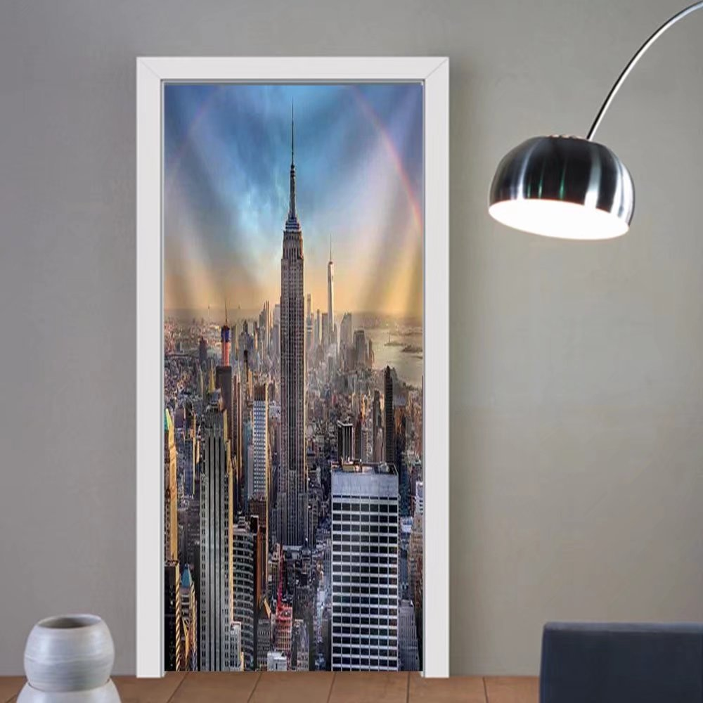 Niasjnfu Chen custom made 3d door stickers New York City Skyline with Urban Skyscrapers at Sunset Usa Fabric Home Decor For Room Decor 30x79