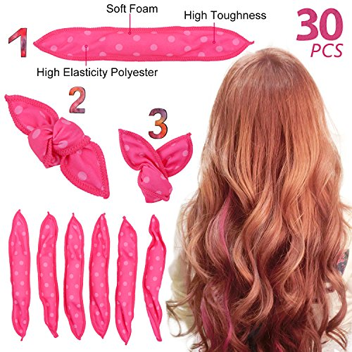 Ameauty Foam Hair Rollers for Long Medium Hair, No Heat, No Harm, Soft and Can be Used at Night for Save Time, Styling Tool For Women and Girl (30Pcs, Rose) by Ameauty (Image #7)