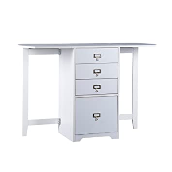 Southern Enterprises Fold Out Organizer And Craft Desk 48u0026quot; Wide, White  Finish