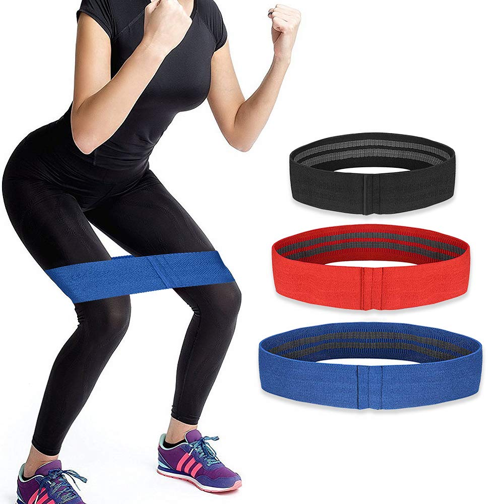 TXJ Sports Resistance Bands for Leg and Butt, Exercise Hip Bands Workout Loop Bands Non-Slip Fabric Booty Bands for Squats, Legs, Butt, Thigh