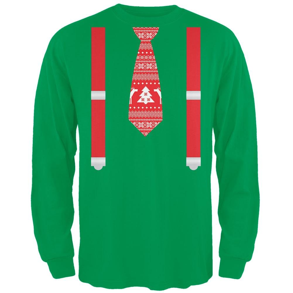 Ugly Christmas Sweater Tie With Suspenders Green Adult Long Sleeve T-Shirt Tees Plus