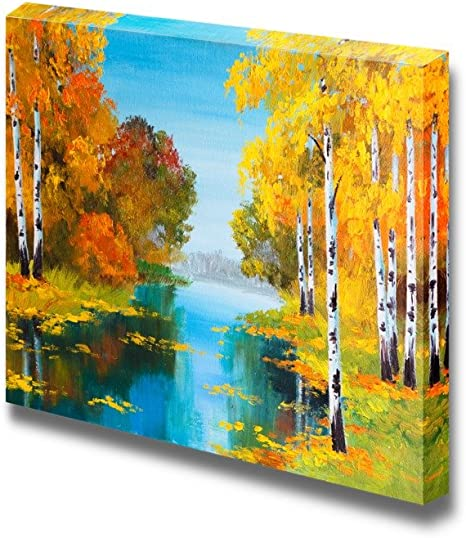 Wall26 Canvas Prints Wall Art Oil Painting Style Landscape Birch Forest Near The River Modern Wall Decor Home Decoration Stretched Gallery Canvas Wrap Giclee Print Ready To Hang