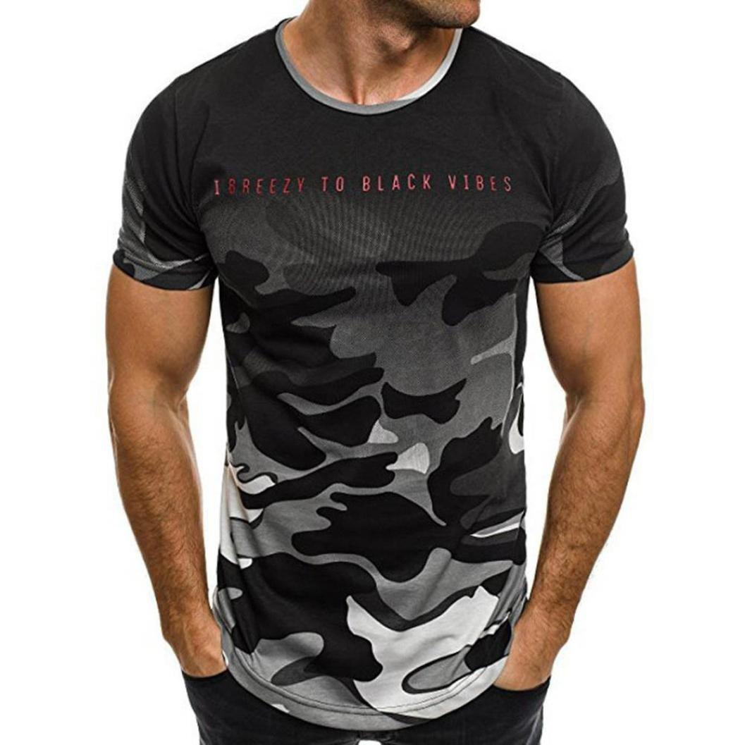 2018 hombres calientes de la venta camiseta muscular Slim Fit manga corta camuflaje blusa Tops ropa deportiva ktPeM