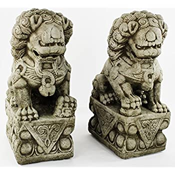 Foo Dog Pair Carved Concrete Sculpture Cement Garden Asian Statuary Cast  Stone Chinese Decor