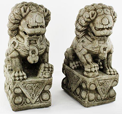 Foo Dog Pair Carved Concrete Sculpture Cement Garden Asia...