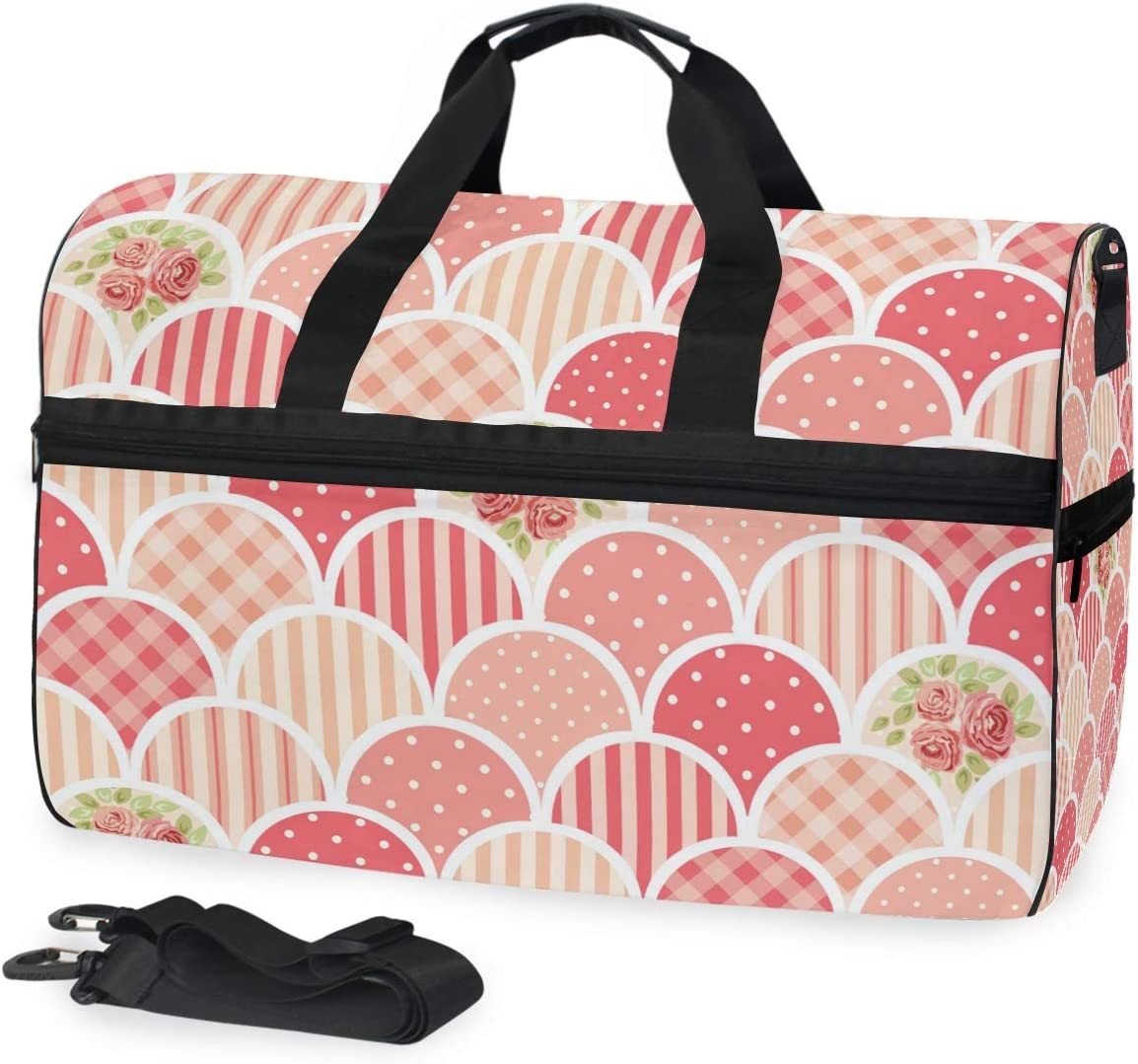 Travel Duffels Flower Stripe Pattern Duffle Bag Luggage Sports Gym for Women /& Men