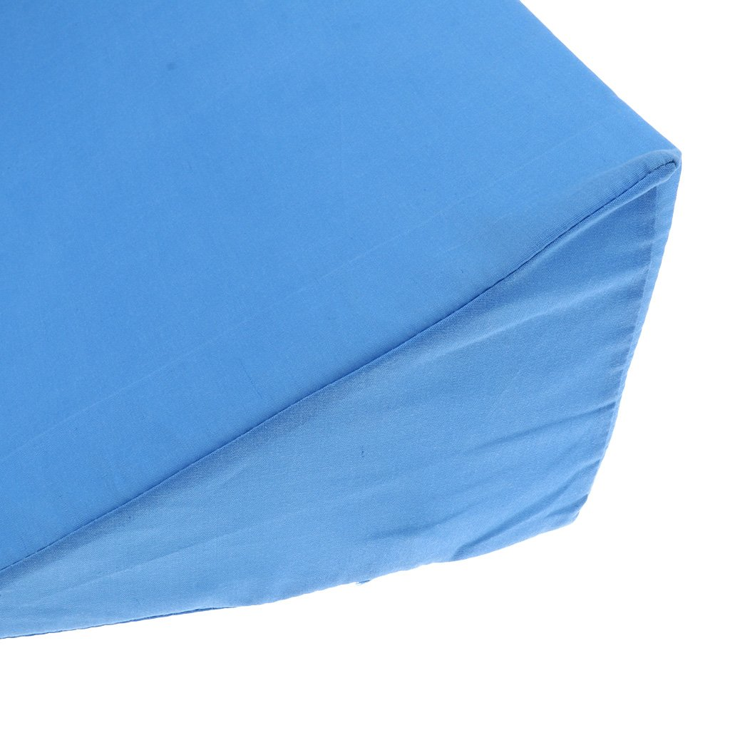 LoveinDIY Soft Bed Wedge Pillow Back Leg Elevation Cushion Support Removable Cover 49 x 28 x 12 cm Blue