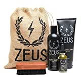 Zeus Deluxe Beard Grooming Kit for Men - Beard Care Gift Set to Soften Hairs and Prevent Itchiness and Dandruff (Verbena Lime)