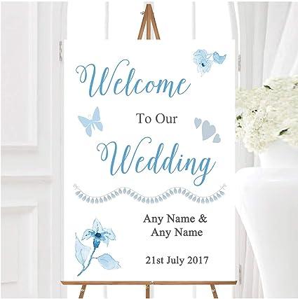 Cartel de bienvenida para boda con diseño de flores de ...
