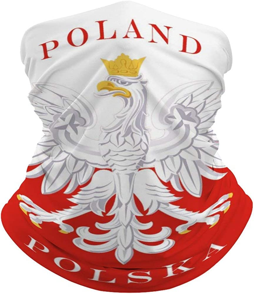 Polish Flag Poland Polska Outdoor Face Cover, Multifunctional Tube Mask Scarf headband Headwear, Lightweight Seamless Neck Gaiter, Face Scarf for Woman & Man