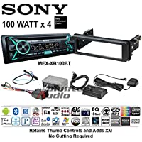 Volunteer Audio Sony MEX-XB100BT Double Din Radio Install Kit with Bluetooth, CD Player, USB/AUX Fits 1998-2013 Harley Davidson Electra, Road, Street, Tour Glide with SXV300V1 XM Module