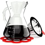 Artisan Pour Over Coffee Maker - Borosilicate Thermal Glass Carafe - Reusable Stainless Steel Mesh Cone Filter and Trivet Included - 16 oz Manual Drip Brewer with Handle