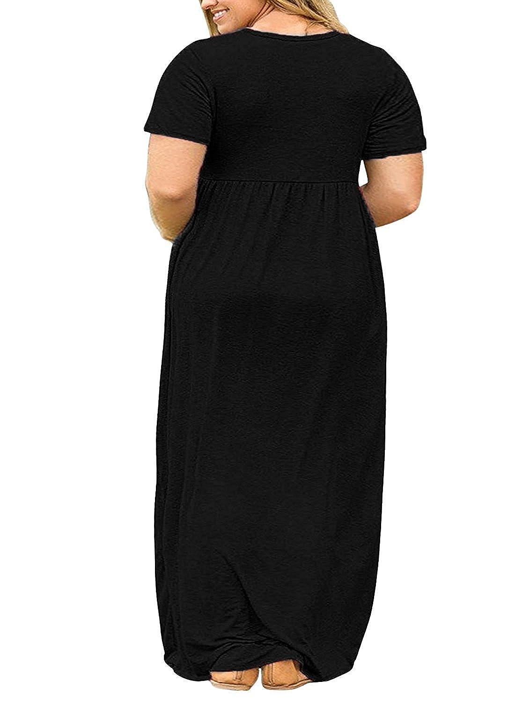 df2ebdb4b7e6c Shele Womens Plus Size Dresses Loose Plain Pockets Long Sleeve Maxi T-shirt  Dress at Amazon Women s Clothing store