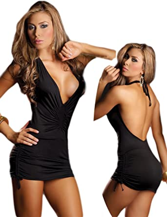 b9adfd6d886 Amazon.com  Tight Black Dress - Sexy Open Back Style - Extra Large ...