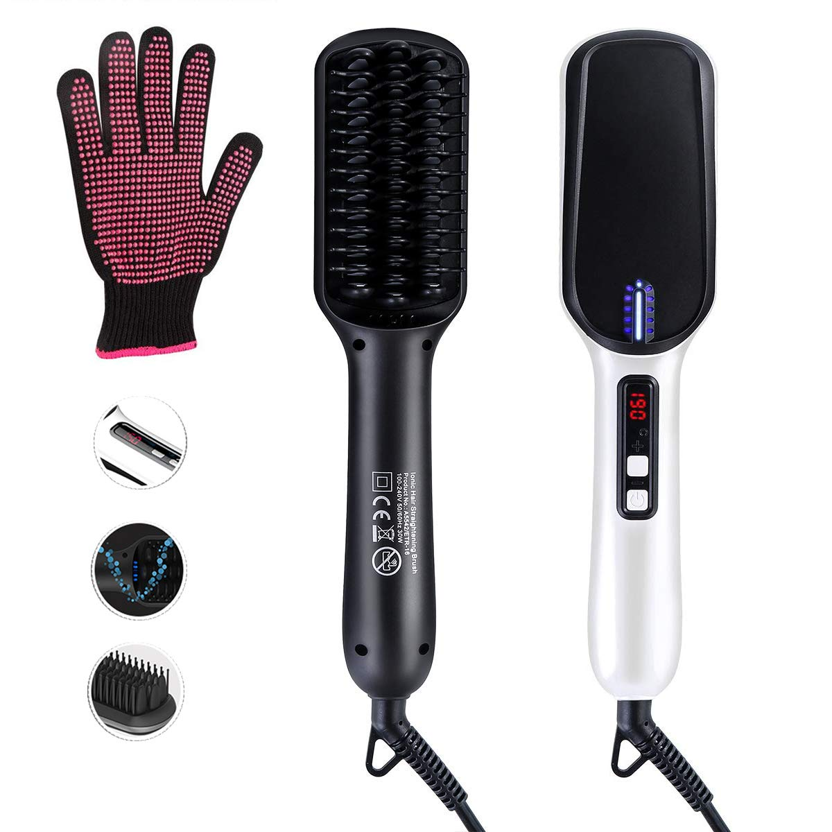 Beard Straightener Hair Straightener Brush -VIPpro Hair Straightening Comb,Auto Temperature Lock,Negative ions Anti,Professional Hair Straightening Brush for Women and Men, For Home and Travel Price: $35.99