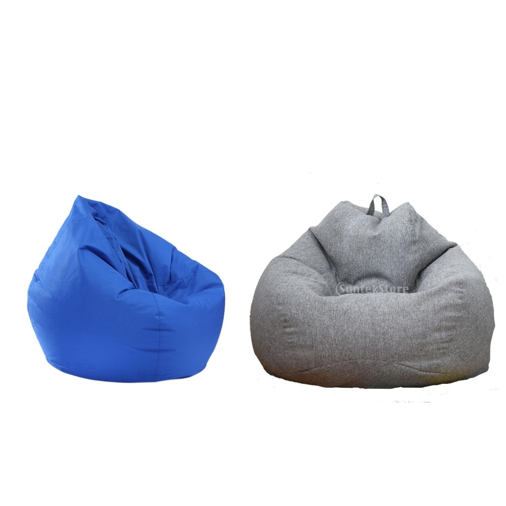 B Blesiya Large Waterproof Stuffed Animal Storage Beanbag Chair Seat Cover Gray & Blue