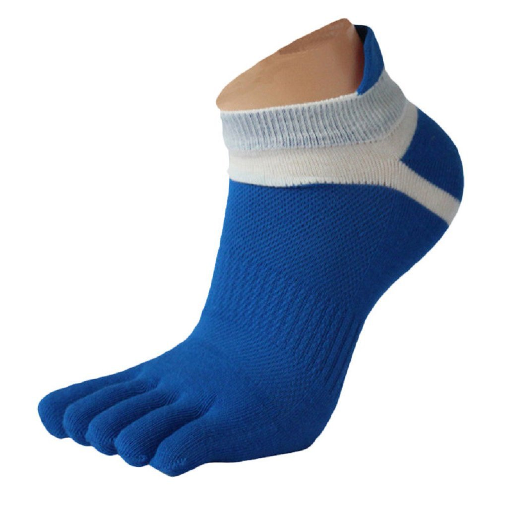 BEAUTYVAN, 1 Pair Men Mesh Meias Sports Running Five Finger Toe Socks (Blue)